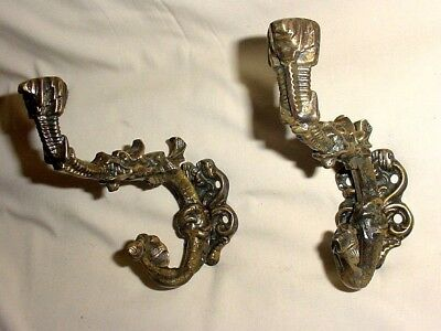 Antique Pair Solid Bronze Chiselled Dragons Coat Hat Hangers Hooks Architectural