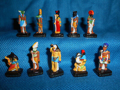 ANCIENT EGYPT GODS & PHARAOHS Set of 10 Figurines FRENCH Porcelain FEVES Figures