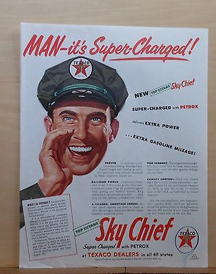 1954 magazine ad for Texaco - It's Super-Charged, Top Octane Sky Chief gasoline