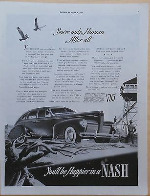 1940 magazine ad for Nash - You're Only Human After All! - Nash at fire tower