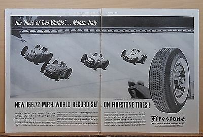 1958 two page magazine ad for Firestone Tires - Monza Italy world record 166 mph