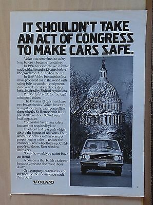 1973 magazine ad for Volvo - Volvo in front of Capitol, Committed to safety