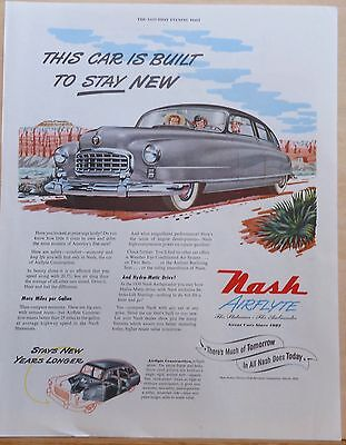1950 magazine ad for Nash - gray Airflyte in desert, Built to Stay New