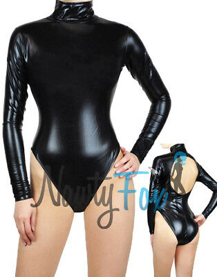 Metallic Black Mock Neck Long Sleeve Leotard Dance Bodysuit Costume