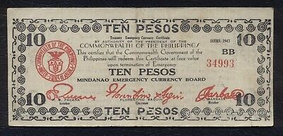 US PHILIPPINES EMERGENCY CURRENCY BOARD ₱10 Guerrilla Pesos 1943