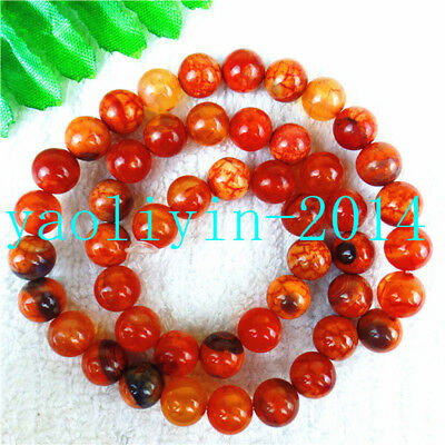 2Strands 8mm Nice Orange Fire Dragon Veins Agate Ball Loose Beads 15.5inch AS201