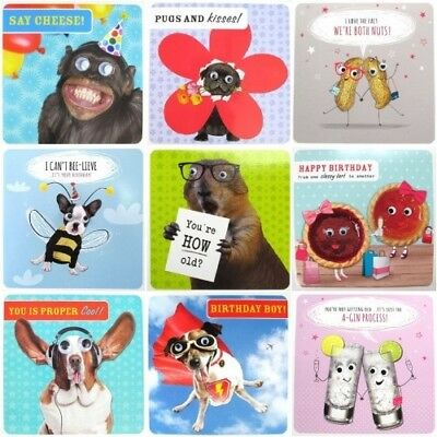 Funny Humour 3d Moving Eyes Gogglies Greeting Card animals alcohol