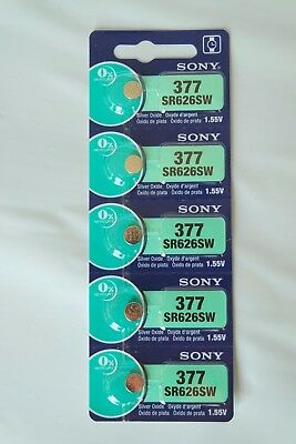 5x Sony 377, SR626SW, AG4 Watch Battery 0% Mercury EXPIRE 06/2021 or later