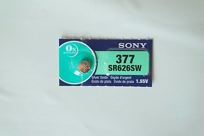 1x Sony 377, SR626SW, AG4 Watch Battery 0% Mercury EXPIRE 07/2020 or later
