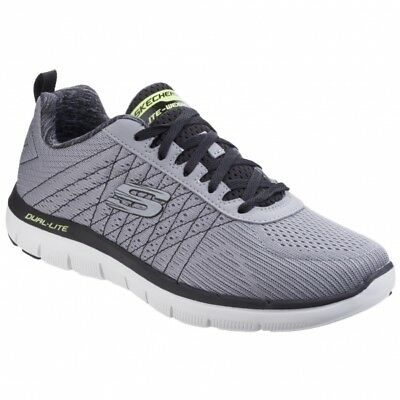 ba6ea571900b Skechers FLEX ADVANTAGE 2.0-THE HAPPS Mens Comfy Sports Trainers Grey Black  New