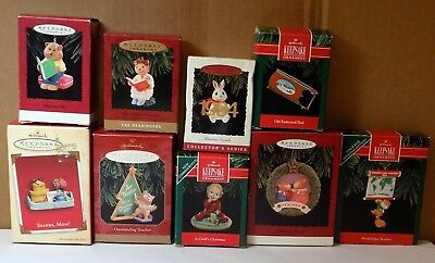 LOT OF 8 vintage HALLMARK KEEPSAKE CHRISTMAS ORNAMENT / MIXED LOT