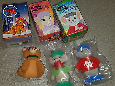 3 Vintage McDonald's Christmas Ornaments Oliver & Company Rescuers Down Under  B