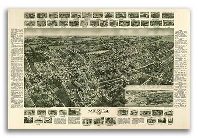1925 Amityville New York Vintage Old Panoramic NY City Map - 24x36