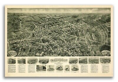 1925 Farmingdale New York Vintage Old Panoramic NY City Map - 20x30
