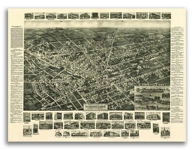 1885 Hicksville New York Vintage Old Panoramic NY City Map - 18x24