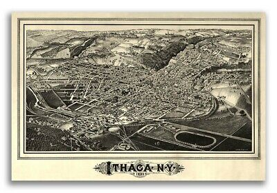 1882 Ithaca New York Vintage Old Panoramic NY City Map - 16x24