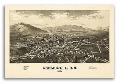 1887 Keeseville New York Vintage Old Panoramic NY City Map - 20x30