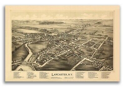 Bird's Eye View 1892 Lancaster New York Vintage City Map - 24x36