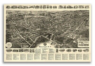 1922 Middletown New York Vintage Old Panoramic NY City Map - 20x30