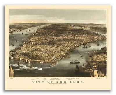 1856 New York City, New York Vintage Old Panoramic NY City Map - 24x30
