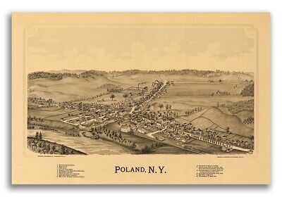 1890 Poland New York Vintage Old Panoramic NY City Map - 24x36
