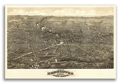 Bird's Eye View 1880 Rochester New York Vintage City Map - 24x36