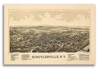 1889 Schuylerville New York Vintage Old Panoramic NY City Map - 16x24