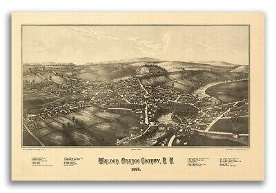 1887 Walden New York Vintage Old Panoramic NY City Map - 16x24