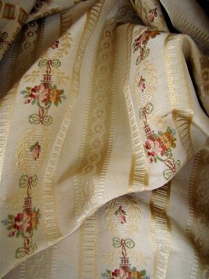 French vintage silk cotton jacquard fabric for   pillows