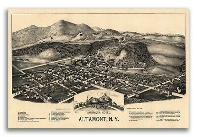 1890 Altamont New York Vintage Old Panoramic NY City Map - 20x30