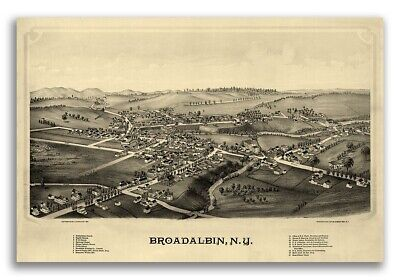 1880 Broadalbin New York Vintage Old Panoramic NY City Map - 16x24