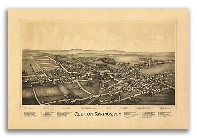 1892 Clifton Springs New York Vintage Old Panoramic NY City Map - 20x30