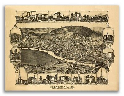 1882 Corning New York Vintage Old Panoramic NY City Map - 20x28