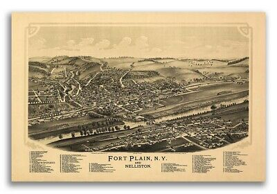 1891 Fort Plain New York Vintage Old Panoramic NY City Map - 20x30