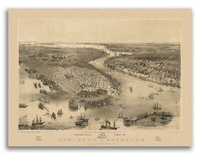 1851 New York City, New York Vintage Old Panoramic NY City Map - 18x24