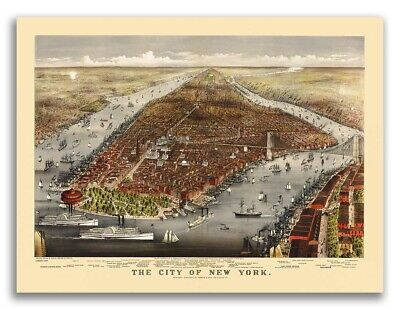 1876 New York City, New York Vintage Old Panoramic NY City Map - 18x24