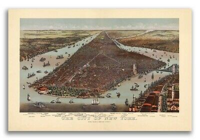 1892 New York City, New York Vintage Old Panoramic NY City Map - 20x30
