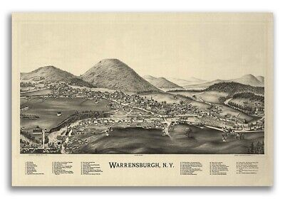 1891 Warrensburgh New York Vintage Old Panoramic NY City Map - 16x24