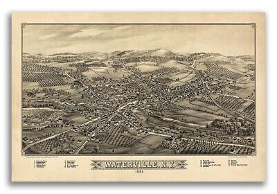 1885 Waterville New York Vintage Old Panoramic NY City Map - 20x30