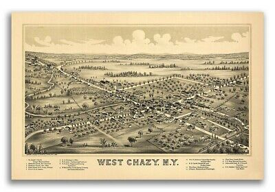 1899 West Chazy New York Vintage Old Panoramic NY City Map - 20x30