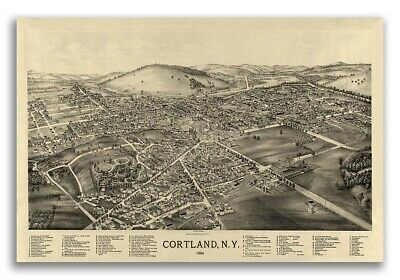 Cortland New York 1894 Historic Panoramic Town Map - 20x30