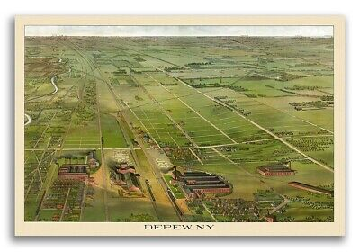 1898 Depew New York Vintage Old Panoramic NY City Map - 16x24