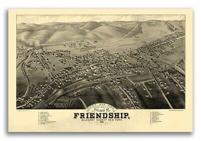 1882 Friendship New York Vintage Old Panoramic NY City Map - 16x24