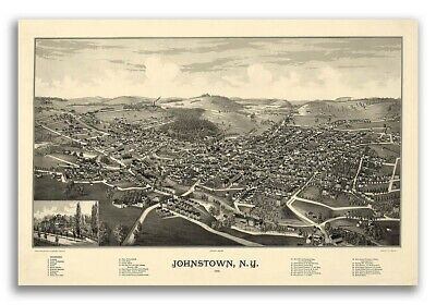 Johnstown New York 1888 Historic Panoramic Town Map - 24x36