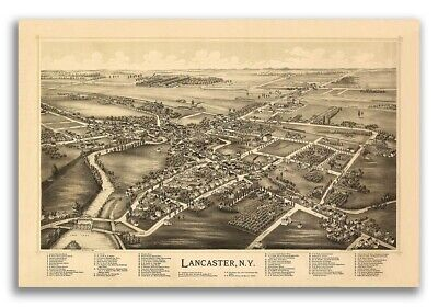 Lancaster New York 1892 Historic Panoramic Town Map - 16x24
