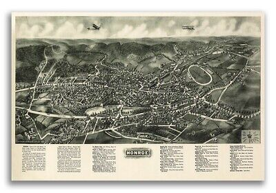 1922 Monroe New York Vintage Old Panoramic NY City Map - 20x30