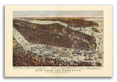 New York City, New York 1892 Historic Panoramic Town Map - 16x24