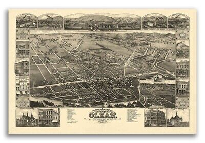 1882 Olean New York Vintage Old Panoramic NY City Map - 20x30