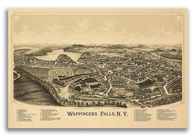 1889 Wappingers Falls New York Vintage Old Panoramic NY City Map - 20x30