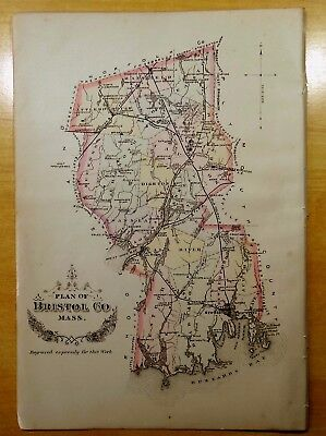 Antique Map 1883 PLAN OF BRISTOL COUNTY, MA Massachusetts HAND-COLORED